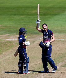Sarah Taylor of England Women celebrates reaching a century against South Africa Women - Mandatory by-line: Robbie Stephenson/JMP - 05/07/2017 - CRICKET - County Ground - Bristol, United Kingdom - England Women v South Africa Women - ICC Women's World Cup Group Stage