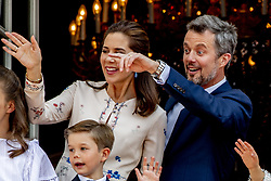 Crown Prince Frederik, Crown Princess Mary and Prince Vincent celebrate 50th birthday of Crown Prince Frederik at the royal palace in Copenhagen, Denmark, on May 26, 2018. Photo by Robin Utrecht/ABACAPRESS.COM