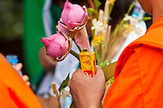 "15 JULY 2011 - PHRA PHUTTHABAT, SARABURI, THAILAND:   A monk carries flowers during the Tak Bat Dok Mai at Wat Phra Phutthabat in Saraburi province of Thailand, Friday, July 15. Wat Phra Phutthabat in Phra Phutthabat, Saraburi, Thailand, is famous for the way it marks the beginning of Vassa, the three-month annual retreat observed by Theravada monks and nuns. The temple is highly revered in Thailand because it houses a footstep of the Buddha. On the first day of Vassa (or Buddhist Lent) people come to the temple to ""make merit"" and present the monks there with dancing lady ginger flowers, which only bloom in the weeks leading up Vassa. They also present monks with candles and wash their feet. During Vassa, monks and nuns remain inside monasteries and temple grounds, devoting their time to intensive meditation and study. Laypeople support the monastic sangha by bringing food, candles and other offerings to temples. Laypeople also often observe Vassa by giving up something, such as smoking or eating meat. For this reason, westerners sometimes call Vassa the ""Buddhist Lent."" The tradition of Vassa began during the life of the Buddha. Most of the time, the first Buddhist monks who followed the Buddha did not stay in one place, but walked from village to village to teach. They begged for their food and often slept outdoors, sheltered only by trees. But during India's summer rainy season living as homeless ascetics became difficult. So, groups of monks would find a place to stay together until the rain stopped, forming a temporary community. Wealthy laypeople sometimes sheltered monks on their estates. Eventually a few of these patrons built permanent houses for monks, which amounted to an early form of monastery.     PHOTO BY JACK KURTZ"