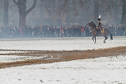 © Licensed to London News Pictures. 06/02/2012. London, UK.  A 41 gun salute by the King's Troop, Royal Horse Artillery in Hyde Park to mark the 60th anniversary of Queen Elizabeth II's accession to the throne. (04-05/02). Photo credit : James Gourley/LNP