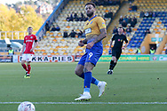 Craig Davies of Mansfield Town (9) can't quite get on the end of a through ball during the The FA Cup match between Mansfield Town and Charlton Athletic at the One Call Stadium, Mansfield, England on 11 November 2018.