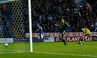 Photo: Steve Bond/Richard Lane Photography. Leicester City v Peterborough United. Coca-Cola Football League One. 20/12/2008. Matty Fryatt (L) turns to celebrate as his shot crosses the line. keeper Joe Lewis and Chris Westwood (C) look distraught