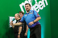 Jonny Clayton celebrates his quarter final win over Steve Beaton during the PDC Darts Players Championship at  at Butlins Minehead, Minehead, United Kingdom on 26 November 2017. Photo by Shane Healey.