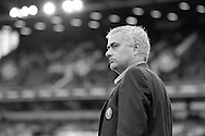 note : image has been converted into black & white. Jose Mourinho, the Chelsea manager looks on before k/o. from the touchline. Barclays Premier League, West Ham Utd v Chelsea at The Boleyn Ground, Upton Park in London on Saturday 24th October 2015.<br /> pic by John Patrick Fletcher, Andrew Orchard sports photography.