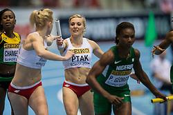 08.03.2014, Ergo Arena, Sopot, POL, IAAF, Leichtathletik Indoor WM, Sopot 2014, im Bild EWELINA PTAK 4X400 m // EWELINA PTAK 4X400 m during day two of IAAF World Indoor Championships Sopot 2014 at the Ergo Arena in Sopot, Poland on 2014/03/08. EXPA Pictures © 2014, PhotoCredit: EXPA/ Newspix/ Radoslaw Jozwiak<br /> <br /> *****ATTENTION - for AUT, SLO, CRO, SRB, BIH, MAZ, TUR, SUI, SWE only*****