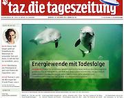 Cover Image taz | Energiewende mit Todesfolge<br />ÖKOKONFLIKT Pfähle für Windräder werden mit höllischem Lärm in denMeeresgrund<br />gerammt. Für Schweinswale, die sich mit dem Gehör orientieren, ist das tödlich.<br />Dabei stehen die Meeressäuger unter Naturschutz. Jetzt schreitet das<br />Umweltministeriumzur Tat: Es will den Naturschutz lockern...