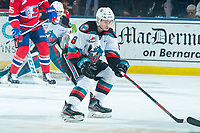 KELOWNA, BC - JANUARY 31: Kaedan Korczak #6 of the Kelowna Rockets keeps his eye on the play against the Spokane Chiefs at Prospera Place on January 31, 2020 in Kelowna, Canada. Korczak was selected in the 2019 NHL entry draft by the Vegas Golden Knights. (Photo by Marissa Baecker/Shoot the Breeze)