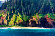 Kalalau Beach on the Na Pali Coast (aerial), Napali Coast Wilderness State Park, Kauai, Hawaii USA