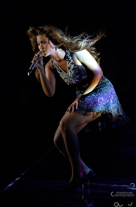 Beyonce Knowles performs at the Gergio Armarni Fashion show.