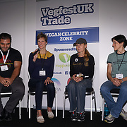 London, England, UK. 20th October 2017. Patrol Baboumian - Vegan strongman, Kate Strong - vegenfest triathlete,, Fiona Oakes - ultra marathon, Christine Vardaros - Vegan cyclist talk for Vegan Sports Stars at The First VegfestUK Trade at Olympia London, UK
