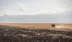 26 January 2019, Ethiopia: Two men run a carriage across fields in the central highlands near Robe town, Bale Zone, Ethiopia.