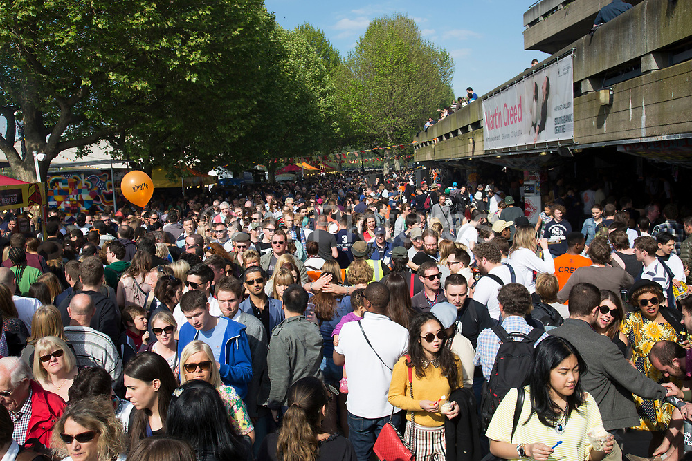 Crowds of people flock to the South Bank on a bank holiday weekend in May. Both the weather and the promise of events and attractions on the busy walkway attract record numbers of visitors. The South Bank is a significant arts and entertainment district, and home to an endless list of activities for Londoners, visitors and tourists alike.