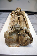 Effigy of Don Garcia De Osorio (1499-1505).  Alabaster, Toledo, Spain. Don Garcia, a knight of the Order of Santiago was buried in the church of San Pedro in Toledo.  Though he wears chain mail and armour, his helmet has been removed and placed at his feet with a symbolic figure of mourning.  His wife's effigy nearly has a similar figure at her feet.