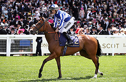 Come on Leicester ridden by Jockey Tom Marquand goes to post for the Queen Mary Stakes
