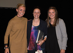 Bristol Academy's Sophie Ingle and Loren Dykes present a gift to coach Lauren Smith - Photo mandatory by-line: Paul Knight/JMP - Mobile: 07966 386802 - 11/10/2015 - Sport - Football - Bristol - Stoke Gifford Stadium - Bristol Academy WFC End of Season Awards 2015
