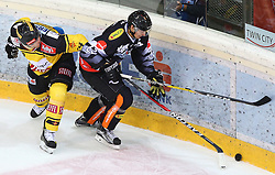 21.10.2016, Albert Schultz Halle, Wien, AUT, EBEL, UPC Vienna Capitals vs Dornbirner Eishockey Club, 12. Runde, im Bild Jonathan Ferland (UPC Vienna Capitals) und Corin Konradsheim (Dornbirner Eishockey Club) // during the Erste Bank Icehockey League 12th Round match between UPC Vienna Capitals and Dornbirner Eishockey Club at the Albert Schultz Ice Arena, Vienna, Austria on 2016/10/21. EXPA Pictures © 2016, PhotoCredit: EXPA/ Thomas Haumer