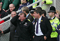 Photo: Andrew Unwin.<br /> Liverpool v Everton. The Barclays Premiership. 25/03/2006.<br /> Middlesbrough's manager, Steve McLaren (L) shares a moment with Bolton's manager, Sam Allardyce (R).