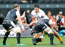Justin Basson of Cheetahs under pressure from Dan Lydiate of Ospreys<br /> <br /> Photographer Simon King/Replay Images<br /> <br /> Guinness PRO14 Round 2 - Ospreys v Cheetahs - Saturday 8th September 2018 - Liberty Stadium - Swansea<br /> <br /> World Copyright © Replay Images . All rights reserved. info@replayimages.co.uk - http://replayimages.co.uk