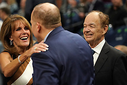 October 19, 2018 - Minneapolis, MN, USA - Minnesota Timberwolves team owner Glen Taylor, right, and his wife Becky greet Minnesota Timberwolves head coach Tom Thibodeau prior to the start of play against the Cleveland Cavaliers on Friday, Oct. 19, 2018, at the Target Center in Minneapolis. (Credit Image: © Anthony Souffle/Minneapolis Star Tribune/TNS via ZUMA Wire)