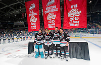 KELOWNA, CANADA - SEPTEMBER 25: Jackson Whistle #1, Gage Quinney #20, Cole Linaker #26 and Tyson Baillie #24 of Kelowna Rockets raise the BC Division, Western Conference Division and WHL Champions banners during the home opener against the Kamloops Blazers on September 25, 2015 at Prospera Place in Kelowna, British Columbia, Canada.  (Photo by Marissa Baecker/Shoot the Breeze)  *** Local Caption *** Jackson Whistle; Gage Quinney; Cole Linaker; Tyson Baillie;