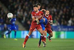 Liverpool's Alex Oxlade-Chamberlain battles for the ball during the Carabao Cup, third round match at the King Power Stadium, Leicester.