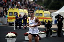 November 12, 2017 - Athens, Attica, Greece - Gkelaouzos Konstantinos enters the Panathenaic stadium at the 35th Athens Classic Marathon in Athens, Greece, November 12, 2017. (Credit Image: © Giorgos Georgiou/NurPhoto via ZUMA Press)
