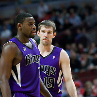 21 December 2009: Sacramento Kings guard Beno Udrih talks to Sacramento Kings guard Tyreke Evans during the Sacramento Kings 102-98 victory over the Chicago Bulls at the United Center, in Chicago, Illinois, USA.