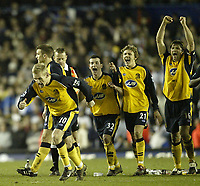 Photo: Aidan Ellis.<br /> Leeds United v Wigan Athletic. The FA Cup. 17/01/2006.<br /> Its There Wigan celebrate as Graham Kavanagh's penalty seals victory