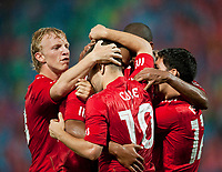 Fotball<br /> England<br /> Foto: Propaganda/Digitalsport<br /> NORWAY ONLY<br /> <br /> Trabzonspor v Liverpool<br /> <br /> TRABZON, TURKEY - Thursday, August 26, 2010: Liverpool's Glen Johnson (hidden) celebrates with team-mates after his side's equalising goal against Trabzonspor during the UEFA Europa League Play-Off 2nd Leg match at the Huseyin Avni Aker Stadium.