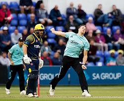 Surrey's Morne Morkel bowls to Glamorgan's Kieran Carlson<br /> <br /> Photographer Simon King/Replay Images<br /> <br /> Vitality Blast T20 - Round 14 - Glamorgan v Surrey - Friday 17th August 2018 - Sophia Gardens - Cardiff<br /> <br /> World Copyright © Replay Images . All rights reserved. info@replayimages.co.uk - http://replayimages.co.uk