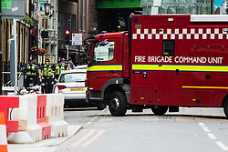 London, June 4th 2017. A branches of the emergency services are at the scene during a massive policing operation in the aftermath of the terror attack on London Bridge and Borough Market on the night of June 3rd which left seven people dead and dozens injured