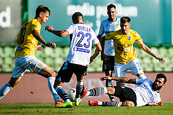 Rok Kidric of NK Bravo with Nino Zugelj of NK Bravo vs Denis Cerovec  of NK Koper and Timotej Dodlek of NK Koper during football match between NK Bravo and NK Koper in 4th Round of Prva liga Telekom Slovenije 2020/21, on September 19, 2020 in Sport park ZAK, Ljubljana, Slovenia. Photo by Grega Valancic / Sportida