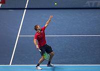 Tennis - 2019 Nitto ATP Finals at The O2 - Day Two<br /> <br /> Doubles Group Max Mirnyi: Kevin Krawietz (GER) & Andreas Mies (GER) Vs. Jean-Julien Rojer (NED) & Horia Tecau (ROM)<br /> <br /> Kevin Krawietz (GER) serving <br /> <br /> COLORSPORT/DANIEL BEARHAM