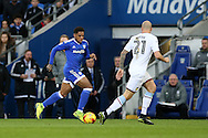 Kadeem Harris  of Cardiff city  looks to go past Alan Hutton  of Aston Villa. EFL Skybet championship match, Cardiff city v Aston Villa at the Cardiff City Stadium in Cardiff, South Wales on Monday 2nd January 2017.<br /> pic by Andrew Orchard, Andrew Orchard sports photography.