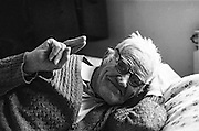 Portrait of an elderly refugee from Bosnia at the Varazdin refugee camp in Croatia in the winter of 1992.