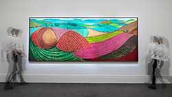 © Licensed to London News Pictures. 14/06/2018. LONDON, UK. ''Double East Yorkshire'' by David Hockney, (Est. £10,000,000 - 15,000,000). Preview of Impressionist & Modern and Contemporary art sales, which will take place at Sotheby's New Bond Street on 19 and 26 June 2018 respectively.  Photo credit: Stephen Chung/LNP