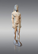 Naxian marble Ancient Greek Archaic statue of a kouros, found in Ptoan Apolla Sactuary, Boeotia, mid 6th cent BC, Athens National Archaeological Museum. Cat no 10.  Against grey.<br /> <br /> Tjhe soft modelling of the mid section of the body indicates that the statue comes from a Ctcladic workshop. .<br /> <br /> If you prefer to buy from our ALAMY STOCK LIBRARY page at https://www.alamy.com/portfolio/paul-williams-funkystock/greco-roman-sculptures.html . Type -    Athens    - into LOWER SEARCH WITHIN GALLERY box - Refine search by adding a subject, place, background colour, etc.<br /> <br /> Visit our ROMAN WORLD PHOTO COLLECTIONS for more photos to download or buy as wall art prints https://funkystock.photoshelter.com/gallery-collection/The-Romans-Art-Artefacts-Antiquities-Historic-Sites-Pictures-Images/C0000r2uLJJo9_s0