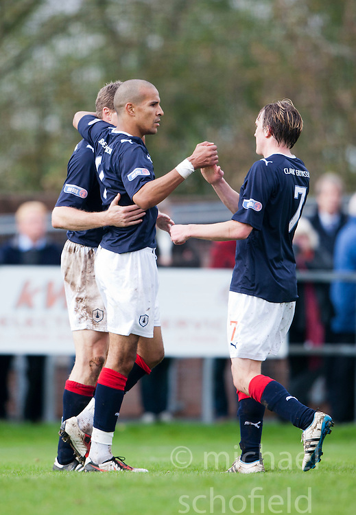 Falkirk's Farid El Alagui celebrates with team mates after scoring their second goal..Annan Athletic 0 v 3 Falkirk. Semi Final of the Ramsdens Cup, 9/10/2011..Pic © Michael Schofield.