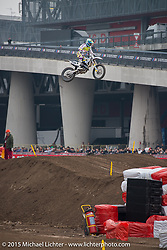 """Motocross Racing in the """"Moto Live"""" outdoor exhibition area during EICMA, the largest international motorcycle exhibition in the world. Milan, Italy. November 21, 2015.  Photography ©2015 Michael Lichter."""