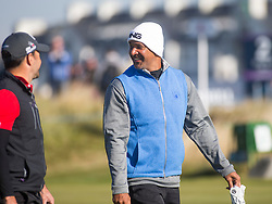 Ruud Gullit at the second tee. Alfred Dunhill Links Championship this morning at Championship Course at Carnoustie.