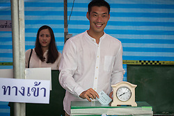 March 24, 2019 - Bangkok, Thailand - Thanathorn Juangroongruangkit, Future Forward Party Leader casts his ballot at a polling station in Ramkhamhaeng University Bang Na Campus in Bangkok during Thailand's general election. (Credit Image: © Guillaume Payen/SOPA Images via ZUMA Wire)