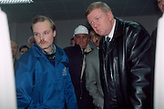 St Petersburg, Russia, 06/10/2000..Anatoly Chubais, Director of Russian electricity supplier United Energy Systems. Touring the LenEnergo generating plant, part of the UES network.