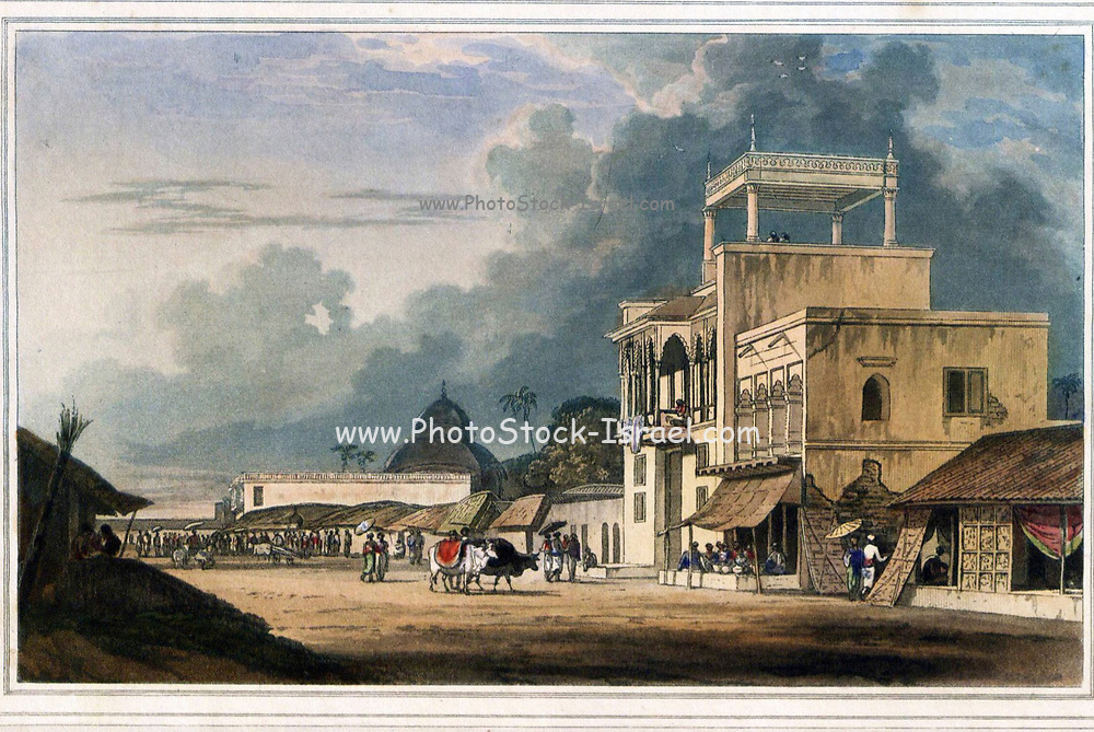 View On The Chitpore Road, Calcutta; From the book ' Oriental scenery: one hundred and fifty views of the architecture, antiquities and landscape scenery of Hindoostan ' by Thomas Daniell, and William Daniell, Published in London by the Authors July 1, 1812