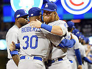 CHICAGO, IL - OCTOBER 15:  Justin Turner #10 of the Los Angeles Dodgers is introduced during pre game ceremonies prior to Game 1 of NLCS against the Chicago Cubs at Wrigley Field on Saturday, October 15, 2016 in Chicago, Illinois. (Photo by Ron Vesely/MLB Photos via Getty Images) *** Local Caption *** Justin Turner