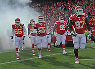 KANSAS CITY, MO - NOVEMBER 24:  The Kansas City Chiefs enter the field before a game against the San Diego Chargers on November 24, 2013 at Arrowhead Stadium in Kansas City, Missouri. (Photo by Peter G. Aiken/Getty Images) *** Local Caption ***