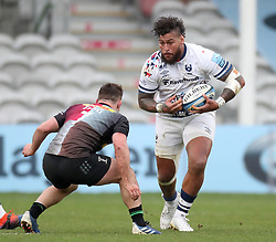 Nathan Hughes of Bristol Bears is tackled by Will Evans of Harlequins - Mandatory by-line: Matt Impey/JMP - 26/12/2020 - RUGBY - Twickenham Stoop - London, England - Harlequins v Bristol Bears - Gallagher Premiership Rugby