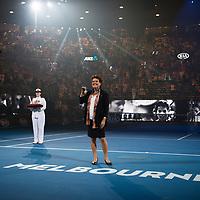 Evonne Goolagong Cawley receives the Order Of Australia during a presentation during the 2018 Australian Open on day 13 in Melbourne, Australia on Friday night January 27, 2018.<br /> (Ben Solomon/Tennis Australia)