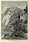 Wood engraving of Râs el Abyad (White Cape), the ladder of Tyre. From the south side. The rock-cut undulating road. with its shallow steps, is in many places nearly two hundred feet above the sea. from 'Picturesque Palestine, Sinai and Egypt' by Wilson, Charles William, Sir, 1836-1905; Lane-Poole, Stanley, 1854-1931 Volume 3. Published in by J. S. Virtue and Co 1883
