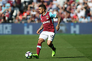 Manuel Lanzini of West Ham United in action. Premier league match, West Ham Utd v Swansea city at the London Stadium, Queen Elizabeth Olympic Park in London on Saturday 8th April 2017.<br /> pic by Steffan Bowen, Andrew Orchard sports photography.