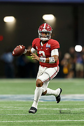 Alabama Crimson Tide quarterback Jalen Hurts (2) looks to pass against the Florida State Seminoles during the Chick-fil-A Kickoff NCAA football game on Saturday, September 2, 2017, in Atlanta. (Paul Abell via Abell Images for Chick-fil-A Kickoff Game)